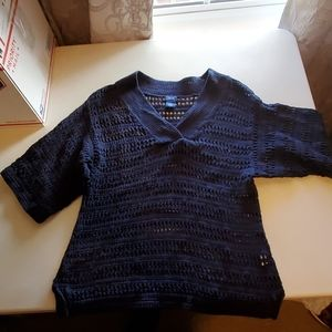 Navy blue knit see through sweater